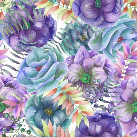 Seamless pattern with the watercolor anemone flowers, fern, leaves and branches, hand drawn on a white background