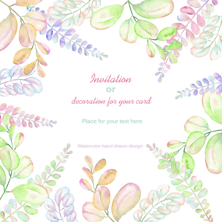 pink and green: Background, template postcard with the abstract watercolor purple, pink and yellow branches, hand drawn on a white background, background for your card and work