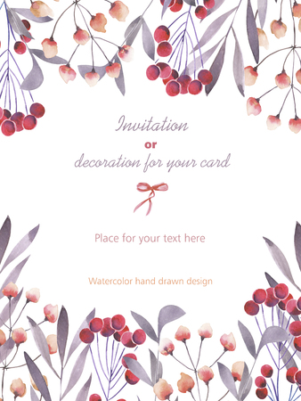 viburnum: Background, template postcard with a floral ornament of the watercolor purple branches and red berries, hand drawn in a pastel on a white background, background for your card and work Stock Photo