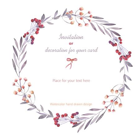 白の背景、グリーティング カード、装飾はがきや招待状に、水彩で描かれた手の果実、枝、花、花輪 (サークル フレーム) 写真素材