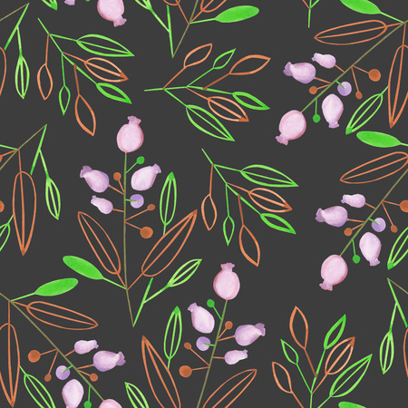 dark pastel green: Seamless pattern with the abstract watercolor brown and green leaves and branches and purple berries on a dark background, hand drawn in a pastel