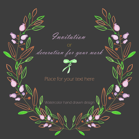 dark pastel green: Circle frame, wreath of the pastel green and brown branches and purple berries, hand drawn in a watercolor on a dark background, greeting card, decoration postcard or invitation