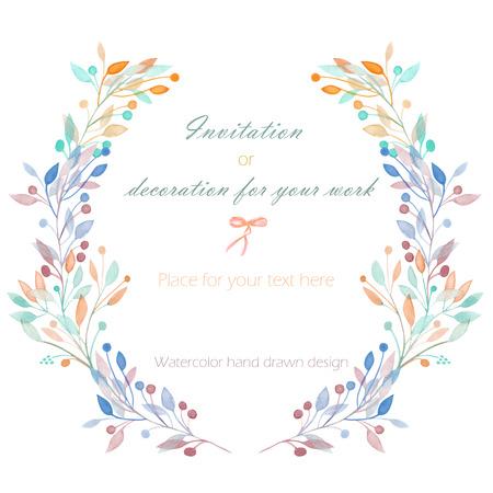 サークル フレーム、手白の背景、グリーティング カード、装飾はがきや招待状に、水彩で描かれたパステルの枝の花輪
