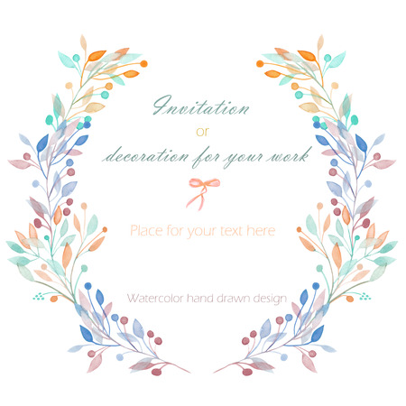 Circle frame, wreath of the pastel branches, hand drawn in a watercolor on a white background, greeting card, decoration postcard or invitation