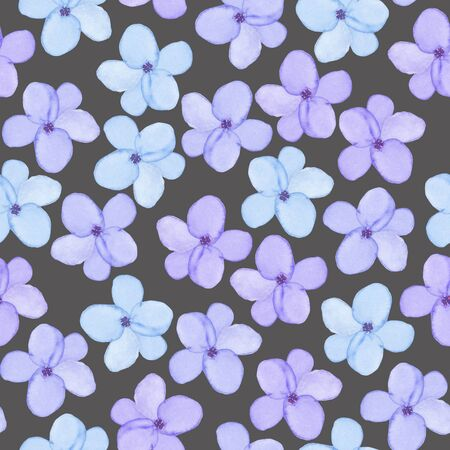 A seamless floral pattern with watercolor hand-drawn tender blue spring flowers, painted on a dark background Stock Photo