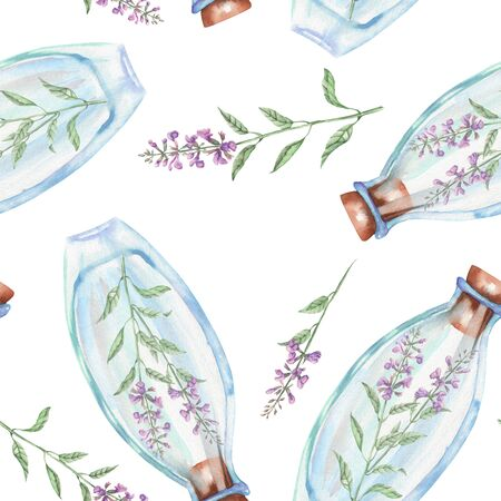 salvia: Seamless pattern with watercolor bottles with salvia flowers inside, hand drawn isolated on a white background
