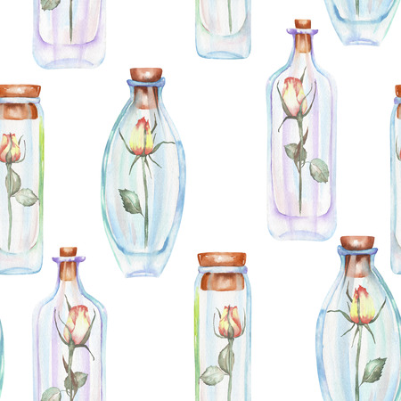 Seamless pattern with watercolor bottles and roses inside, hand drawn isolated on a white background Stock Photo