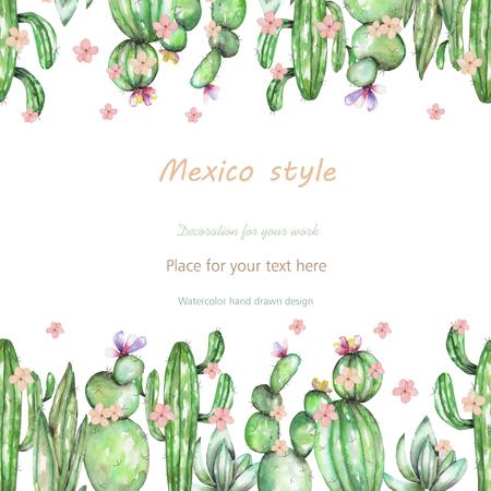Achtergrond, sjabloon ansichtkaart met de cactussen en tedere bloemen, met de hand getekend op een witte achtergrond, achtergrond voor uw kaart en werk