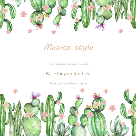 mexico: Background, template postcard with the cactuses and tender flowers, hand drawn on a white background, background for your card and work