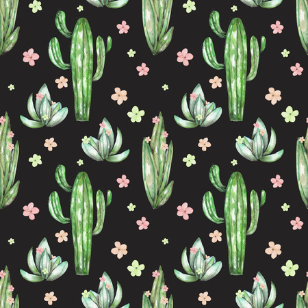 peyote: A seamless pattern with the watercolor various kinds of cactuses and flowers, hand drawn on a black background Stock Photo