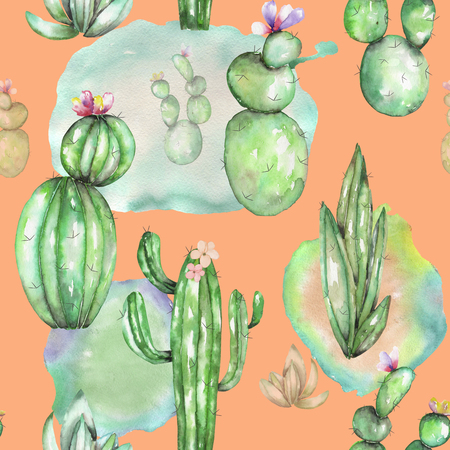 florescence: A seamless pattern with the watercolor various kinds of cactuses, hand drawn on a vintage orange background