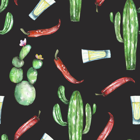 versicolor: A seamless pattern with the isolated red chili peppers, cactuses and tequila, painted hand drawn in a watercolor on a dark background