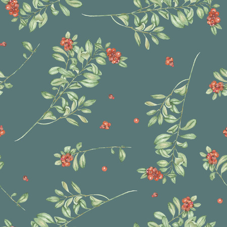 cowberry: Seamless floral pattern with cowberry, hand drawn in watercolor on a green background