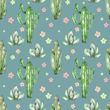 versicolor: A seamless pattern with the watercolor various kinds of cactuses and flowers, hand drawn on a vintage green background