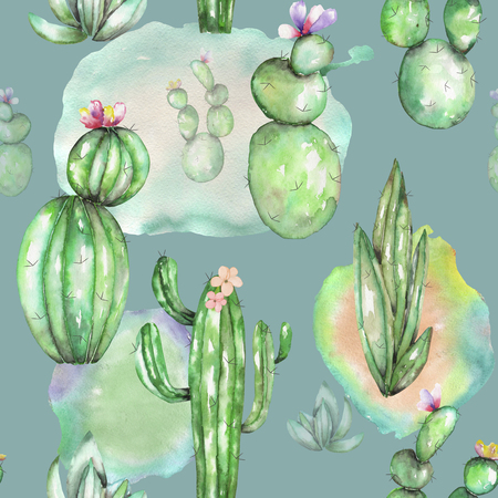 A seamless pattern with the watercolor various kinds of cactuses, hand drawn on a vintage green background