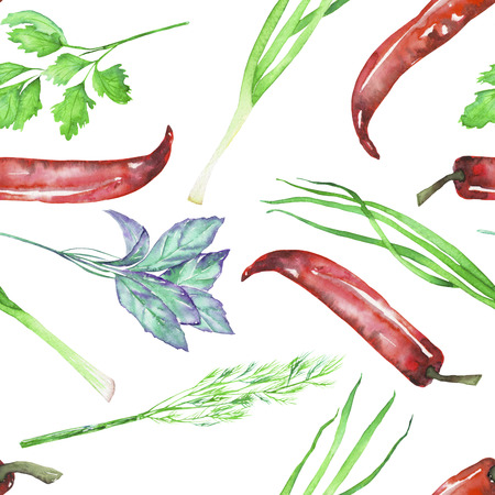 dill and parsley: A seamless pattern with the isolated watercolor spices (spicy herbs): onion green, dill, parsley, cilantro, red chili peppers and basil, painted on a white background