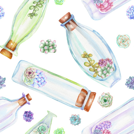 peyote: Seamless pattern with watercolor bottles and succulents inside, hand drawn isolated on a white background Stock Photo