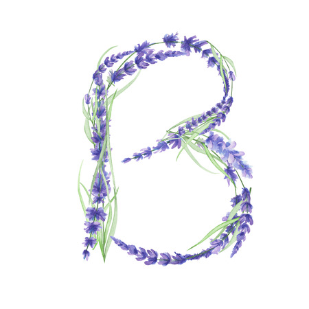 ideograph: Capital letter B of watercolor lavender flowers, isolated hand drawn on a white background, wedding design, english alphabet for the festive and wedding decor and cards