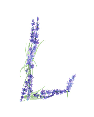 Capital letter L of watercolor lavender flowers, isolated hand drawn on a white background, wedding design, english alphabet for the festive and wedding decor and cards Banco de Imagens