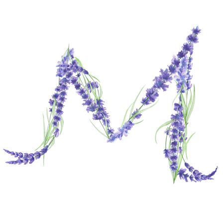 ideograph: Capital letter M of watercolor lavender flowers, isolated hand drawn on a white background, wedding design, english alphabet for the festive and wedding decor and cards Stock Photo