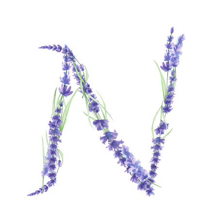 ideograph: Capital letter N of watercolor lavender flowers, isolated hand drawn on a white background, wedding design, english alphabet for the festive and wedding decor and cards Stock Photo