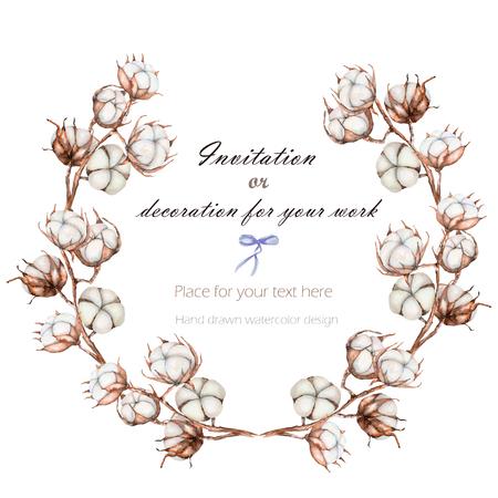 花輪、綿の花の枝を持つサークル フレーム ホワイト バック グラウンド、カードと作品の背景に描かれた手 写真素材