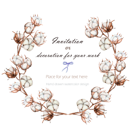 Wreath, circle frame with the cotton flowers branches, hand drawn on a white background, background for your card and work