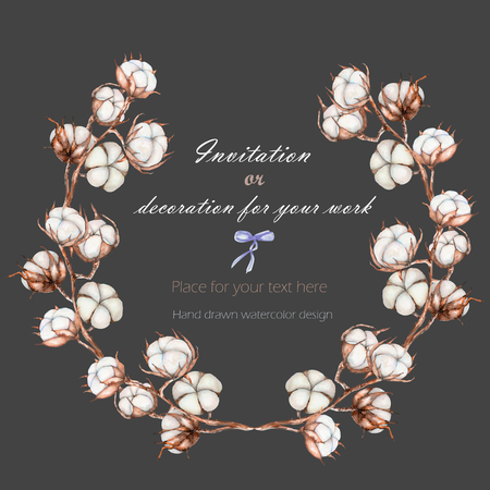 cottonwool: Wreath, circle frame with the cotton flowers branches, hand drawn on a dark background, background for your card and work