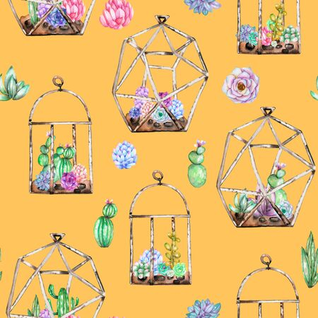 peyote: Seamless pattern with florariums with watercolor succulents and cuctuses inside, hand drawn isolated on orange background