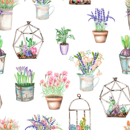 peyote: A seamless pattern with bouquets of wildflowers in a rustic pots and florariums with succulents, isolated hand drawn in a watercolor on a white background Stock Photo