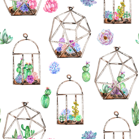 Seamless pattern with florariums with watercolor succulents and cuctuses inside, hand drawn isolated on a white background