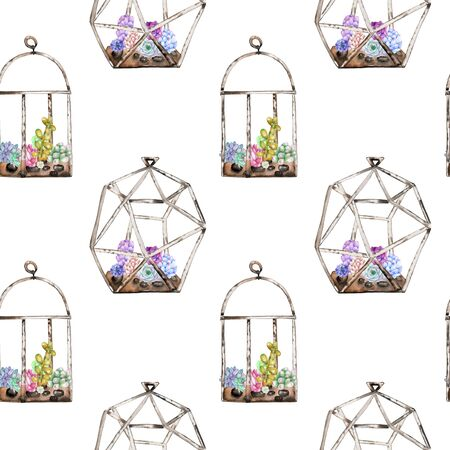 peyote: Seamless pattern with florariums with watercolor succulents and cuctuses inside, hand drawn isolated on a white background