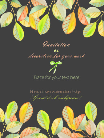 dark pastel green: Background, template postcard with a floral ornament of the watercolor green and yellow leaves and branches, hand drawn in a pastel on a dark background