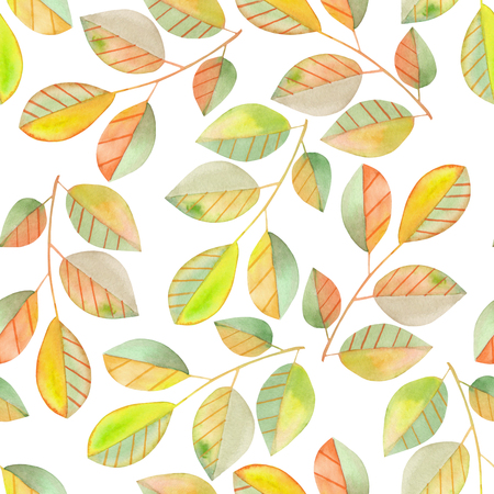 Seamless pattern with the watercolor branches with green and yellow leaves, hand painted isolated on a white background Stock Photo