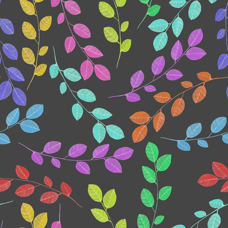 Seamless pattern with the watercolor branches with leaves, hand painted isolated on a dark background Stock Photo