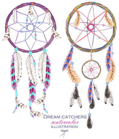 bird feathers: Illustration with dreamcatchers, hand drawn isolated in watercolor on a white background