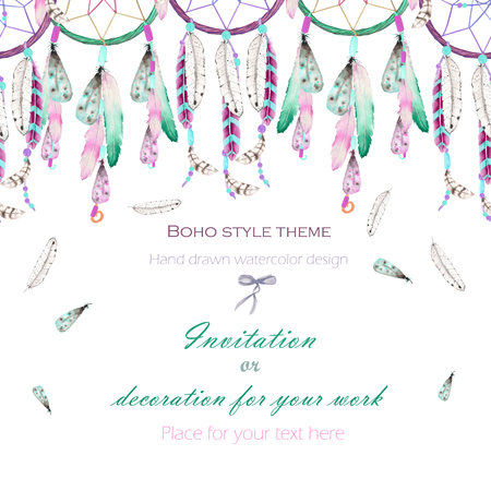 Background, template postcard with the watercolor dreamcatchers and feathers in the air, hand drawn on a white background, background for your card and work Stockfoto