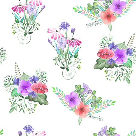 simple: Seamless pattern with the simple watercolor floral bouquets, hand drawn on a white background Stock Photo