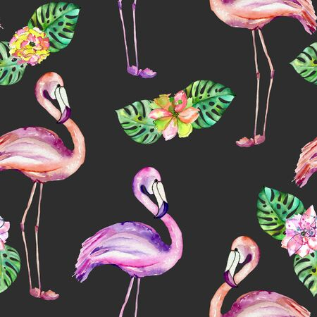 ease: Seamless pattern with the flamingo and exotic flowers, hand painted in watercolor on a dark background Stock Photo