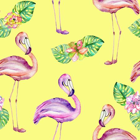 ease: Seamless pattern with the flamingo and exotic flowers, hand painted in watercolor on a yellow background Stock Photo