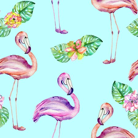 ease: Seamless pattern with the flamingo and exotic flowers, hand painted in watercolor on a mint background Stock Photo