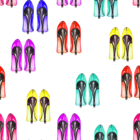 Seamless pattern with the womens watercolor hand drawn shoes on the heels, painted on a white background