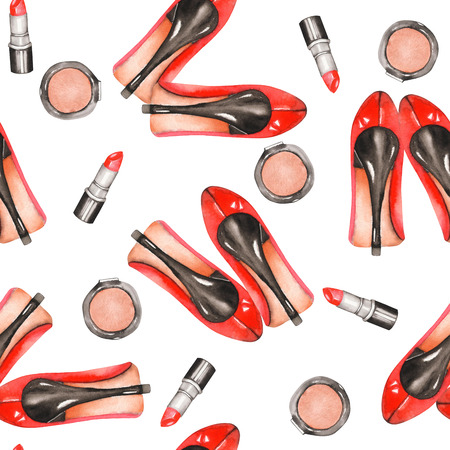 Seamless pattern with the womens watercolor hand drawn red shoes on the heels, red lipstick and blusher, painted on a white background Stock Photo