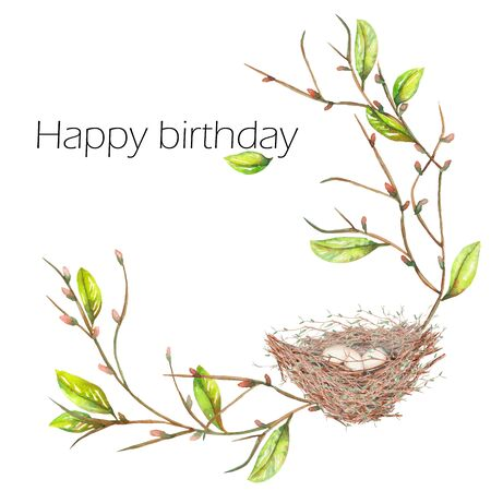 tomtit: Template postcard of the watercolor bird nest with eggs on the apple tree branches, hand drawn isolated on a white background, background for your card and work, greeting card or invitation
