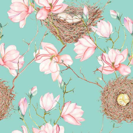Seamless pattern of the watercolor bird nests on the tree branches with spring magnolia flowers, hand drawn on a blue background Stock Photo