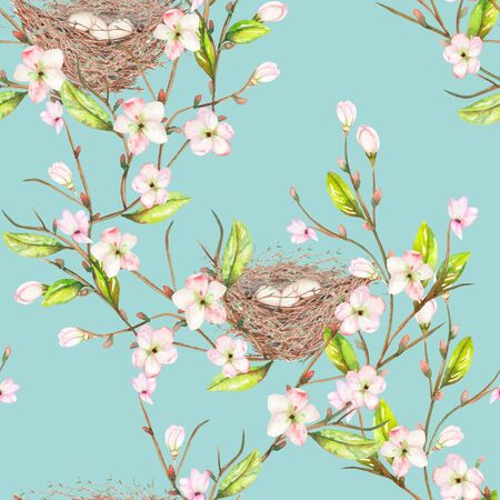 Seamless pattern of the watercolor bird nests on the tree branches with spring flowers, hand drawn on a blue background Stock Photo