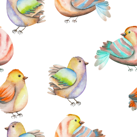 tomtit: Seamless pattern of the watercolor birds, hand drawn on a white background Stock Photo