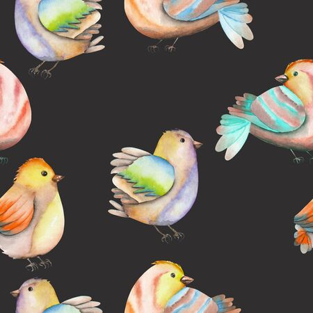 Seamless pattern of the watercolor birds, hand drawn on a dark background Imagens