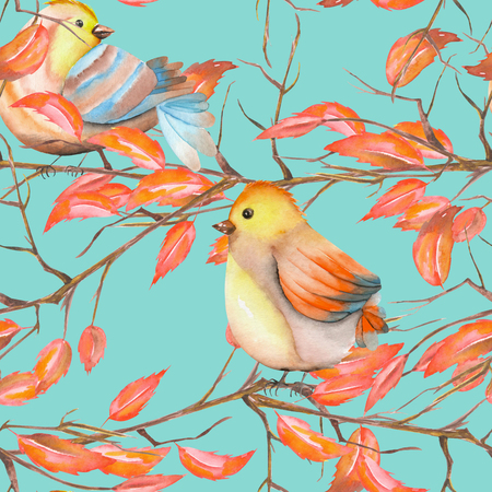 feathery: Seamless pattern of the watercolor birds on the tree branches with red leaves, hand drawn on a blue background Stock Photo