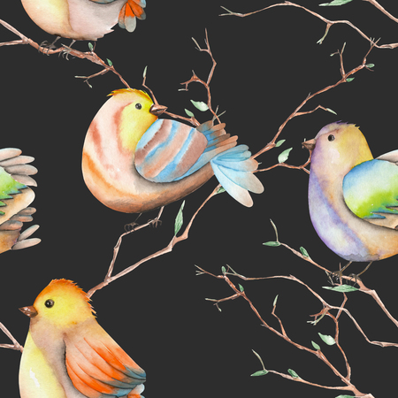 tomtit: Seamless pattern of the watercolor birds on the tree branches, hand drawn on a dark background Stock Photo